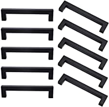 Square Kitchen Cabinet Handles - 10 Pack Black Square Bar Drawer Pulls, Cabinet Hardware for Kitchen/Bathroom/Cupboard