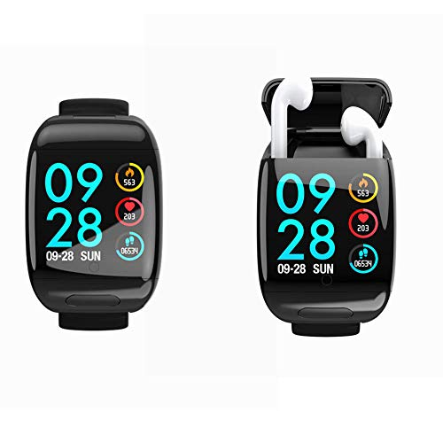 Smart Watch with Bluetooth Earbuds Wireless Earphone Fitness Tracker Heart Rate Monitor Bracelet Wrist Band for iPhone Android Phones Compatible