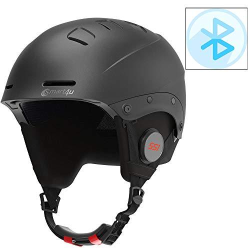 YOUXIU Bluetooth kabellose Skihelm High-End-Modell wasserdicht Ski Sport Bluetooth Helm, geeignet für Skitraining und Wettkampfschutz Schimmel,Schwarz,L