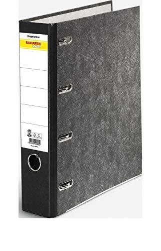 SCHÄFER SHOP Doppelordner mit Wolkenmarmordekor DIN A4 80 mm schwarz