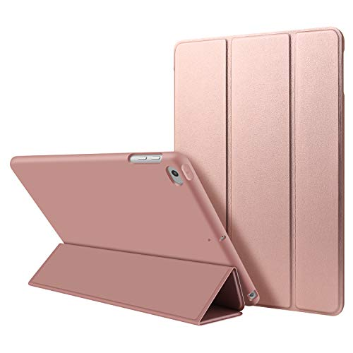 iPad Air 1 Case,GOOJODOQ PU Leather Smart Cover With Magnetic Auto Sleep/Wake Function Shockproof Silicon Soft TPU Folio Case For Apple iPad Air 1 in Rose Gold