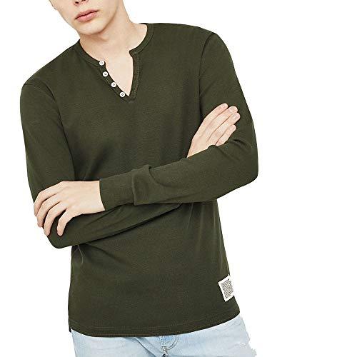 Diesel T-Yoichiroki Camiseta de manga larga para hombre, color verde oscuro