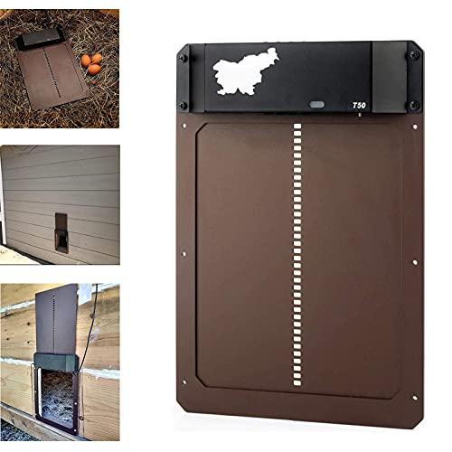 Porte de poulailler automatique avec détection de la lumière - Porte de poulailler étanche, technologie Plug and Play, facile à installer et à utiliser, minuterie d'ouverture retardée le soir et le ma