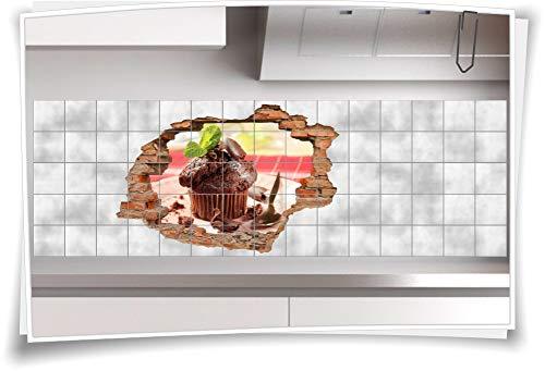 Medianlux 3D tegelafbeelding tegelsticker muffin chocolade bord lekker lepel decoratie