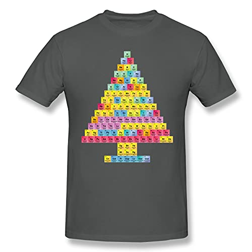 Camiseta básica de manga corta para hombre, diseño de árbol de Navidad, color negro