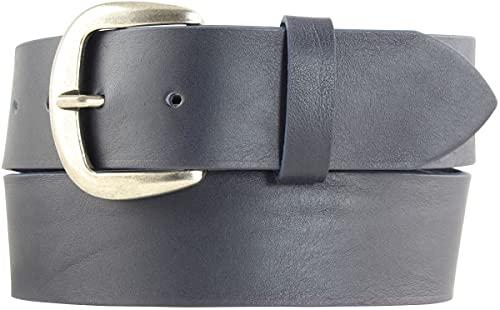 Jeansgürtel aus Vollrindleder 4,5 cm   Leder-Gürtel für Damen Herren 45mm   Breiter Ledergürtel aus echtem Leder   Marine 120cm