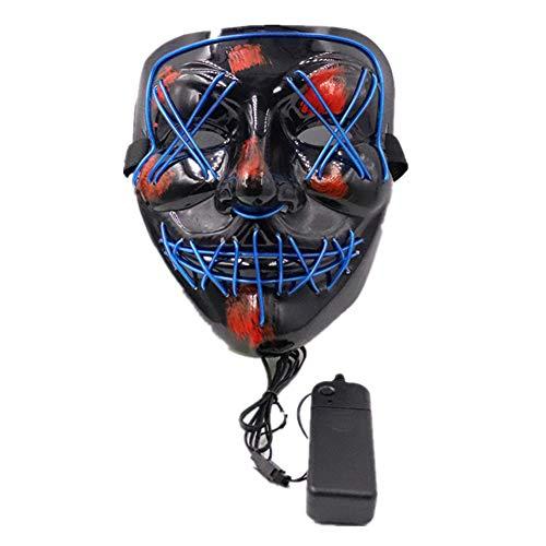 Scary Halloween Gloeiend Masker, Draagbaar, duurzaam, comfortabel, Geschikt voor Clubs, Verjaardagen, Masquerades, Rave Festivals, Kostuumfeesten, Carnaval, blauw