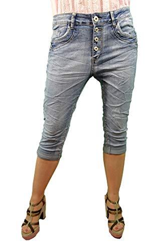 Karostar by Lexxury, bermuda da donna in denim, pantaloni corti, jeans chiari con bottoni, bermuda da donna, perfetta vestibilità con elastico Blu Medio L