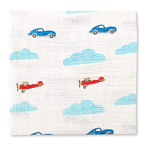 "Muslin Swaddle Blankets | All in One Nursing and Stroller Cover, Pram Sunshade, Burp Cloth, Towel | Breathable Pure Cotton | 39"" x 47"" 