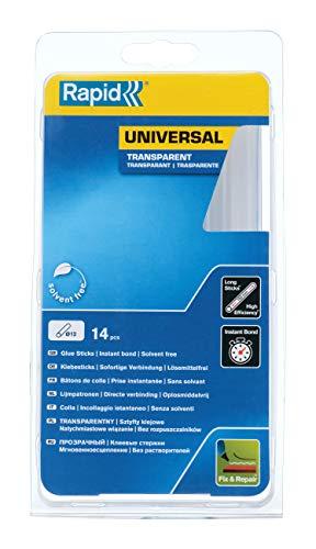 Rapid Heißklebesticks Transparent Universal, 14 Klebesticks 190mm Länge, Universeller Heiβkleber, für Heißklebepistole 11mm, 12mm