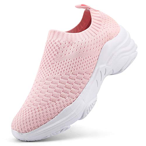 Femme Air Baskets Chaussures Outdoor Running Gym Fitness Sport Sneakers Style Running Respirante Shoes, Rose 1, 38 EU
