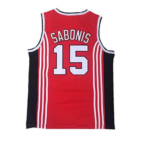 Camiseta de Baloncesto NBA para Hombre, Retro Jersey Swingman Basketball Camisetas, Arvydas Sabonis # 15, Chaleco de Gimnasia Top Deportivo Ropa, S-XXL, Z121MK (Size : L)
