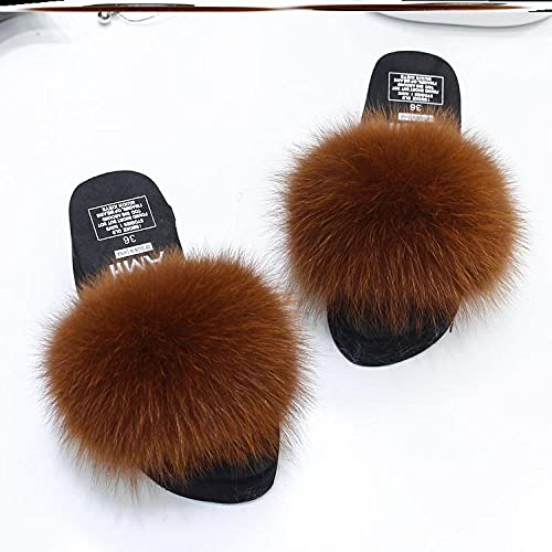 Kirin-1 Chanclas Mujer Piscina,Ladies Slippers Sliders Womens Cute Faux Fur Doblos con Soporte De Arco-35_w