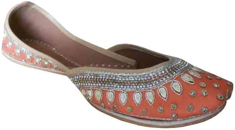 Kalra Creations Mojari Indian Women shoes Leather Punjabi Juti Handmade Wedding Flat