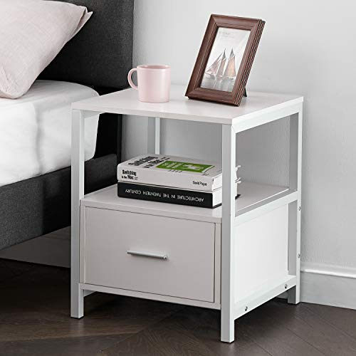 VECELO Modern Nightstand with Drawer Square End, Side Table for Bedroom, Living Room, Small Space, Night Stand with Open Shelf, Stable Metal Frame, White