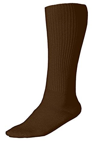 Grandeur Hosiery Women's Ladies Plus Size Queen Diabetic Non-Binding Comfort Top Over-The-Calf Cotton Crew Socks 3-Pack Brown 10-13