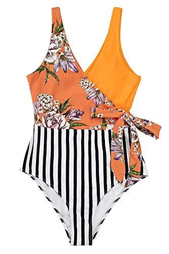 CUPSHE Damen Badeanzug mit Wickeloptik V Ausschnitt Farbblock Geknotete Einteilige Bademode Swimsuit Gelborange/Blumen M