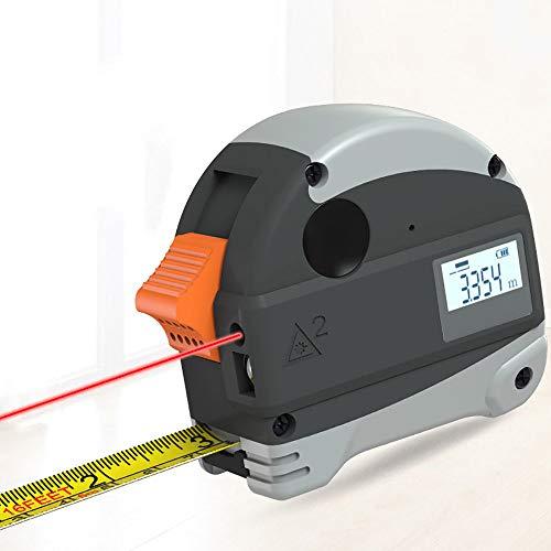 Lasermessgeräte Zubehör,2 in 1 Maßband Laser Messgerät,Wasserdicht laser Bandmaß mit Magnet Haken, Schlagfestes Gehäuse Bandmaß,Grey-30m