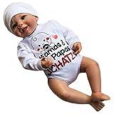 MEA BABY Unisex Baby Wickelbody mit Spruch Mamas & Papas Schatz, 100% Baumwolle, Baby Body weiß für Mädchen, Baby Body Weiss für Jungen. (68)