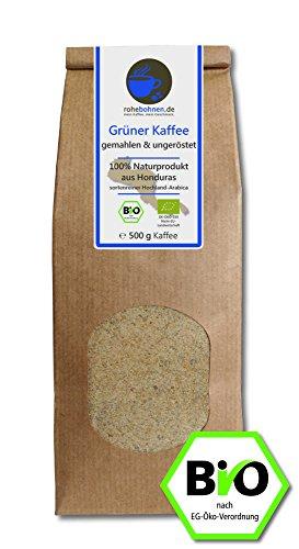 Grüner Kaffee bio gemahlen - Honduras (Rohkaffee gemahlen 500g)