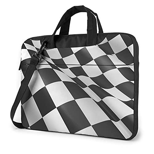 LAOLUCKY Laptop Backpack Waterproof Shoulder Messenger Bag Case Sleeve for Laptop Case Briefcase Shockproof Foam Computer Shoulder Bag - Black and White Check Racing Car Flag Pattern