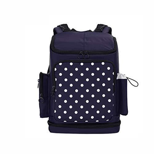 FXXYS Little Fashion Dot Design Mère et sac de maman Sac de bébé de grande capacité de séparation humide et sec à épaules Ladies Sac à dos (Color : Blue)