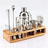 Kit Cocteleria Sistema de cócteles 23 unids Coctel de Acero Inoxidable Shaker Set Barware Kit con Estante Cuadrado de Madera para Bartender Beber Party Bar Herramientas LQHZWYC (Size : 750ml)