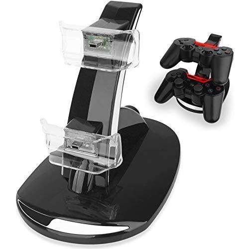 PS3 - Estación de acoplamiento para controlador PS3, base de carga para Playstation 3, soporte doble USB, con indicador LED