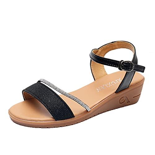 Zapatos de verano para mujer, cómodos dedos abiertos al aire libre, sandalias informales diarias, calzado para caminar por la calle con diamantes de imitación, zapatos de playa con hebilla