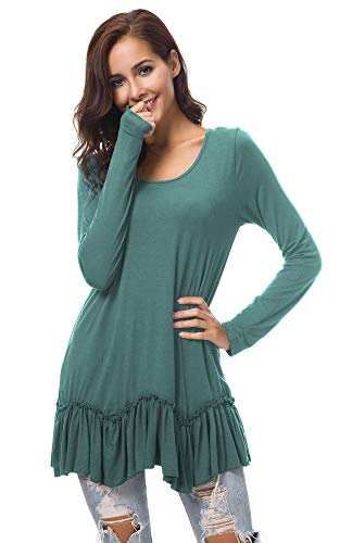 Urban CoCo Women's Casual T-Shirt Solid Long Sleeve Tunic Tops (M, Smoke Green) (Apparel)