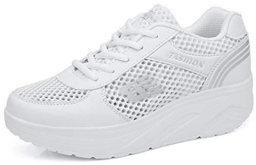 Solshine Damen Netz Sneakers Plateauschuhe Sportschuhe A233 Weiss 37EU