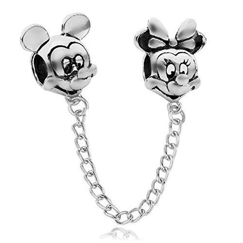XINGXX Joyas Plata Rosa Oro Mickey Minnie Mariposa Cadena De Seguridad Encantos Ajuste Original Pandora Perla Pulsera Mickey de Plata