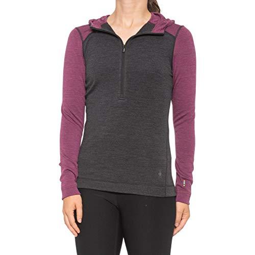 Smartwool Women's Base Layer Top - Merino 250 Wool Active 1/2 Zip Hoodie Charcoal Heather Sangria Heather Large