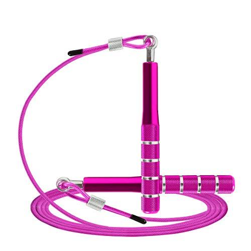 Wastou - Corda per saltare di velocità, per allenamento, fitness, per adulti, regolabile, per uomo, donna, bambini, ragazze (Rosa)