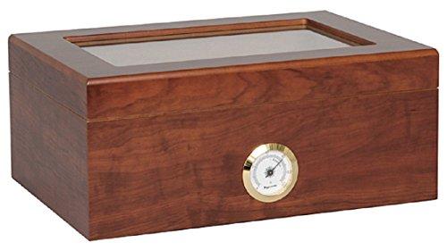 Humidor für 50 Zigarren Glasdeckel INKLUSIVE ELEKTRONISCHEN PRÄZISIONS BEFEUCHTER HYDROCASE MADE IN GERMANY