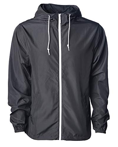 Global Blank Men's Hooded Lightweight Windbreaker Winter Jacket Water Resistant Shell (Black/White, Large)