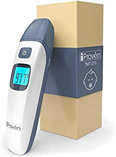 Baby Forehead and Ear Temperature Thermometer - Iprovèn Digital Non Contact Infant and Toddler (Termometro) - with Object Mode -Easy for Your Newborn with Pacifier - Quick No Touch - 2019 (Gray)