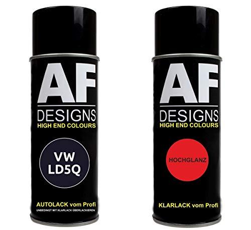 Alex Flittner Designs Autolack Spraydose Set geeignet für VW/Volkswagen Shadow Blue Metallic LD5Q Basislack Klarlack Sprühdose 400ml