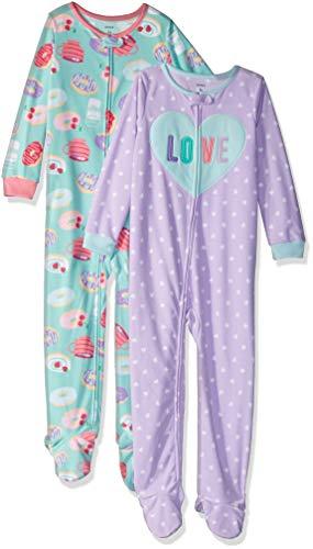 Carter's Girls' Toddler 2-Pack Fleece Pajamas, Love/Donuts, 3T