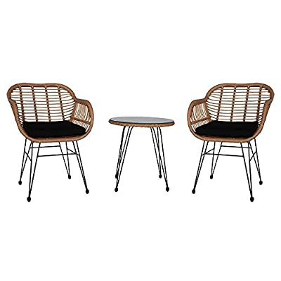 onEveryBaby 3 pcs Wicker Rattan Patio Conversat...