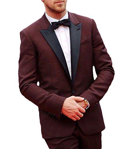 Botong Fashion Dark Brown Men Suit 3 Pieces Wedding Suits Groom Tuxedos Dark Brown 38 Chest / 32 Waist