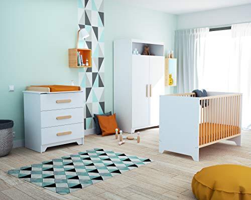Chambre Complète GAVROCHE blanc et hêtre verni