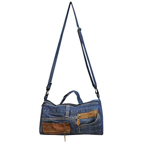 wifash Jeans Jeanstasche aus Jeanshosen genäht Umhängetasche Rucksack Schultertasche/Upcycling - aus Alt mach Neu (Sporttasche 42092)