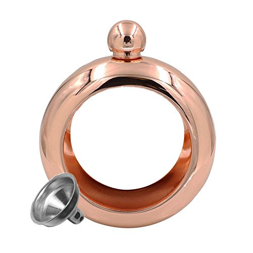 Anivia Women Hidden Liquor Bracelet Flask,Silver polish | Novelty Gift for Wife/Girlfriend | Stainless Steel Bangle - Alcohol, Booze, Wine 3.5 oz. (Gold)