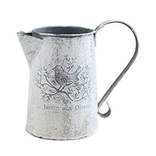 Cabilock Rustikale Vase Französisch Stil Land Primitiven Krug Vintage Zinn Eimer Metallkrug Blumenvase für Heimdekoration Gartendekoration 15 * 11 * 8. 5Cm