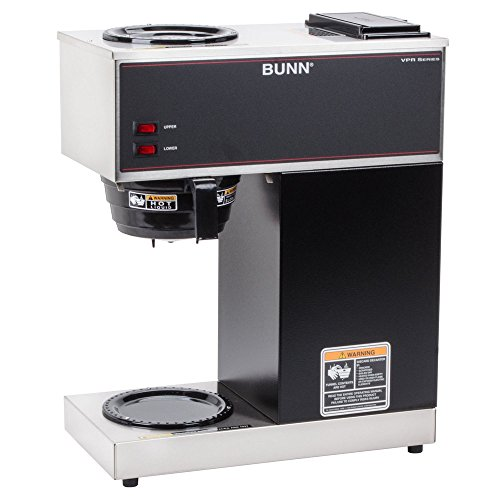 BUNN VPR 12 Cup Pourover Coffee Brewer with 2 Warmers - 120V (BUNN 33200.0000), Black