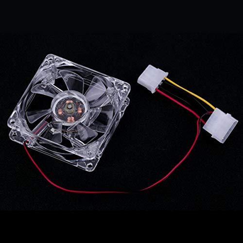 Greatangle Ventiladores de 80 mm de fácil instalación 4 LED Azul para computadora Caja de PC PC de refrigeración Ventilador de refrigeración de CPU Tipo silencioso Transparente