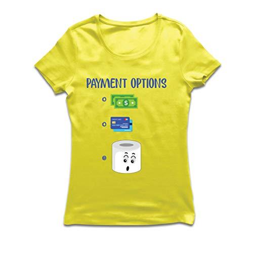 lepni.me Camiseta Mujer Cuarentena 2020 Escasez de Papel higiénico para el Pago más Preferido (Large Amarillo Multicolor)