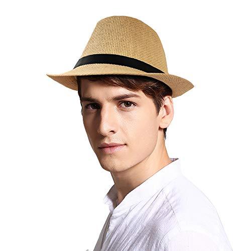 SIYWINA Sombrero de Panama Sombrero de Paja Sombrero de Playa de Fedora para Hombres Mujeres