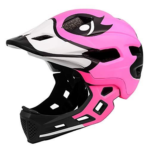 DYOYO Casco Integral Niños Helmet Bicicleta MTB BMX Montaña Ajustable Desmontable Ciclismo Ajustable Patinaje Mentón Desmontable Cascos de Seguridad 52-56cm para 3-15 Child(52-56cm)